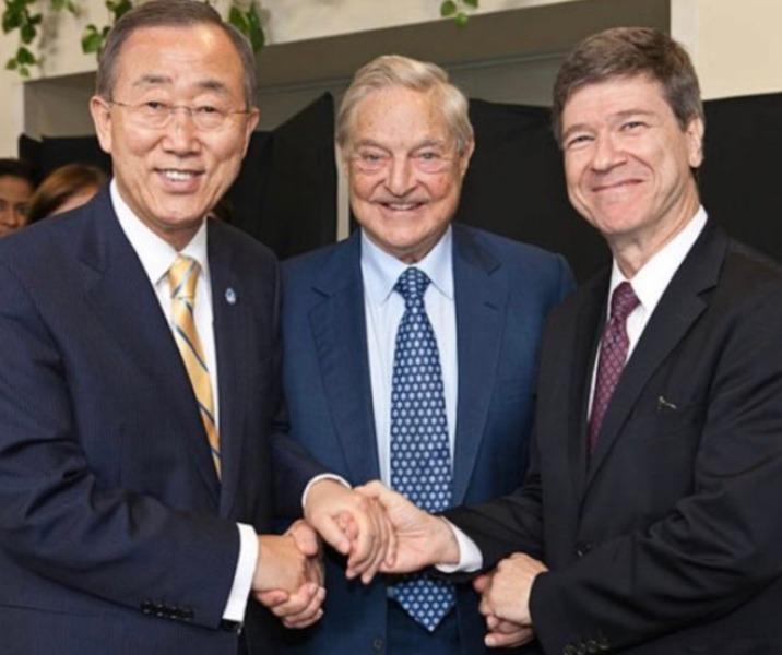 Naciones Unidas (Ban Ki-moon, antiguo Secretario General), George Soros y Jeffrey Sachs (empleado de Soros y ahora mano derecha del Papa Francisco)
