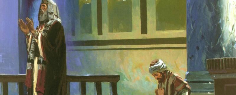 El publicano, en cambio, se quedó atrás y no se atrevía ni a levantar los ojos al cielo; solo se golpeaba el pecho, diciendo:¡Oh Dios!, ten compasión de este pecador.